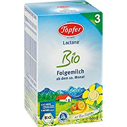 Töpfer Lactana Bio 3 Folgemilch - ab dem 10. Monat, 3er Pack (3 x 600g)
