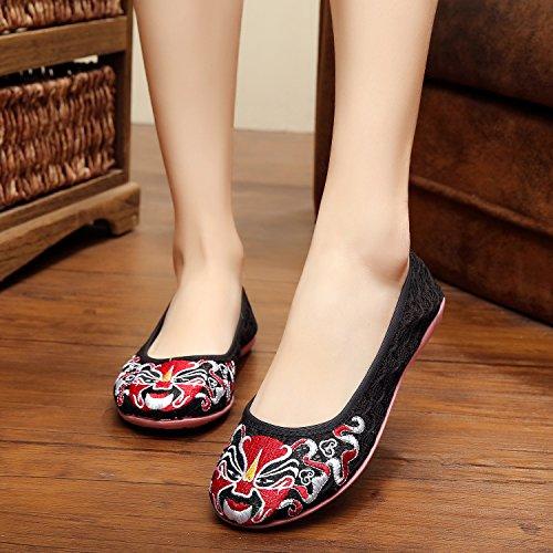&hua Chaussures brodées, lin, semelle tendon, style ethnique, féminine, mode, confortable, filet chaussures de fil Black