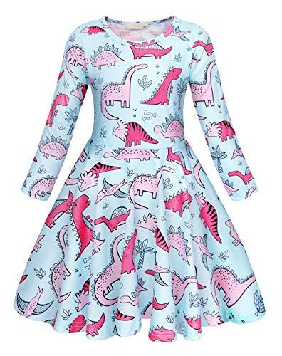 Muster Kostüm Dinosaurier - AmzBarley Dinosaurier Kostüm Kleid Kinder Lange Ärmel Kleider Mädchen Beiläufig Tiere Karikatur Sommerkleid Geburtstag Urlaubs Party Ankleiden Kleidung