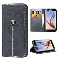 Galaxy S6 Funda, iDoer Galaxy S6 Funda con tapa libro piel y TPU cartera cover Funda de cuero carcasa bumper protectores estuches soporte flip Case para Samsung Galaxy S6 gris