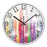 ZHUNSHI Stumm die Wohnzimmer Uhr kreative Kunst Uhren Wand Diagramme Quarz Uhr Tabelle Farbstreifen,14 Zoll,White-box