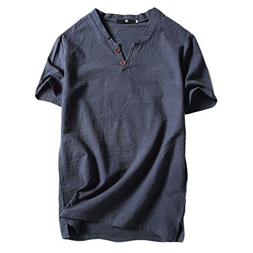 UFACE Herren Solide Baumwolle Leinen Yoga Bluse Langarm, Herren Sommer T-Shirt Baumwolle Leinen Thai Hippie Shirt V-Ausschnitt Strand Yoga...