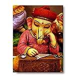 Giftsmate Diwali Gifts Auspicious Lord Ganesha Wall Clock Canvas Home Decor, Religious Spiritual Hindu Gifts 9 X 12 Inches