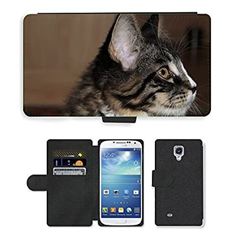 GoGoMobile PU Leather Flip Custodia Protettiva Case Cover per // M00124374 Cat animal jeune chat espiègle Curieux // Samsung Galaxy S4 S IV SIV i9500
