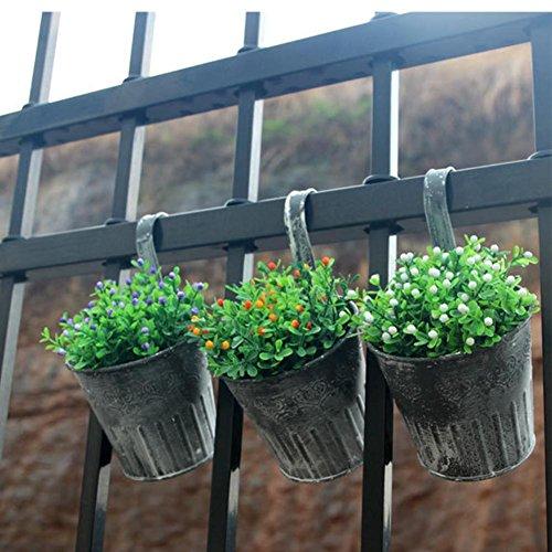 3 Stücke Eisen Hängende Blumentöpfe Vintage Zinn Eimer Blumentopf Innovative Blume Pflanzer