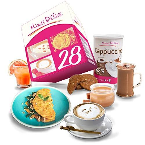 Régimen Adelgazante Hiperproteico 28 días Desayuno Cappuccino Paquete 66 productos 1 coctelera y 1 guía de regalo - pérdida de peso optimizada en 4 semanas