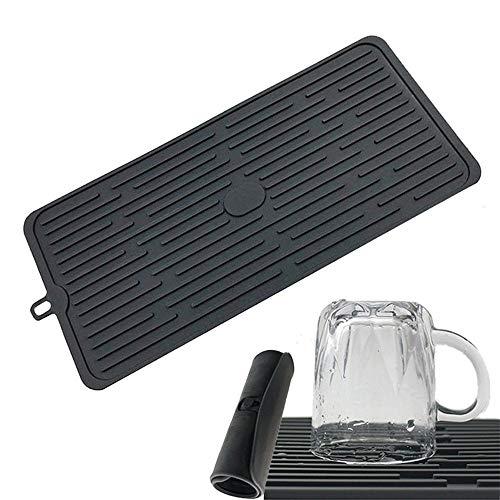 Silikon-Abtropfmatte für Geschirr, Geschirr, Spülbecken, Glasablage, Schwarz (Spülbecken-geschirr-halter)