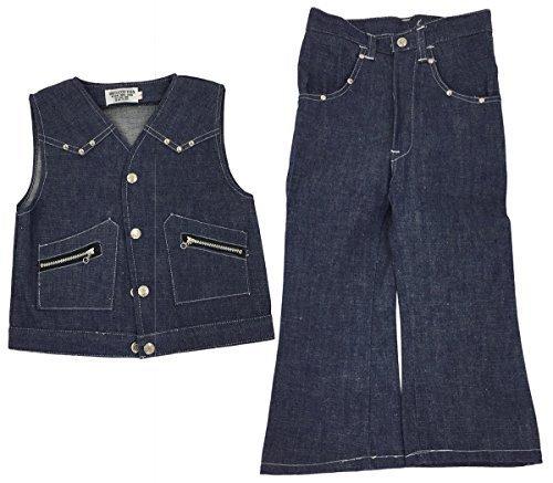 Cuckoo Mädchen Vintage REIßVERSCHLUSS NIETEN Trimm Dunkel Denim Weste & Schlaghose Jeans Anzug Größen von 2 bis 7 Jahre - Blau, 7 years (Disco-flare Jeans)