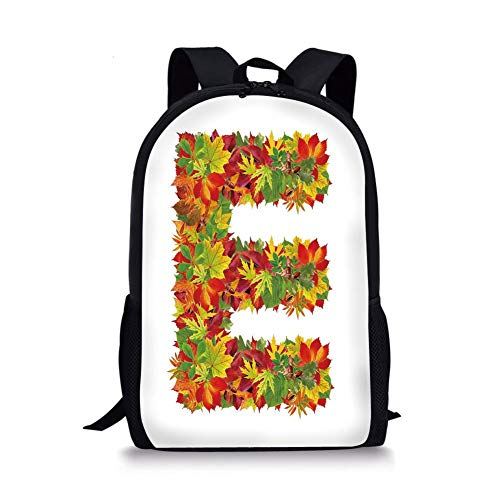 School Bags Letter E,Chestnut Maple Leaves Natural Oak Petals Vibrant Colors E Symbol Print,Vermilion Yellow Green for Boys&Girls Mens Sport Daypack -