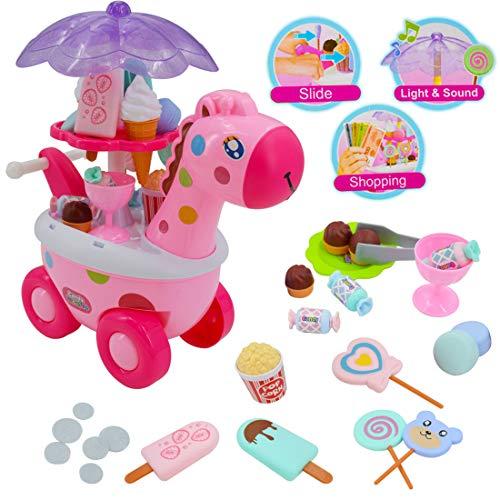¡Ponte a cargo de tu propia tienda de chuches! Mantén la dulzura con este encantador juego de carrito Sweet Shop Giraffe. Coloca los dulces de la manera que más te guste. Desplázate por la habitación reproduciendo música y luces de colores para que t...