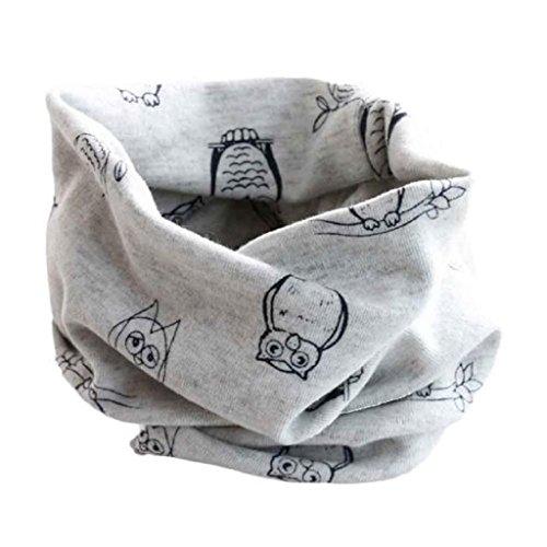 Babybekleidung Schals Longra Herbst-Winter-Baby-Mädchen-Eulen Kragenbaby -Schal Baumwolle O-Ring Halstücher (40 * 40cm) (Gray)