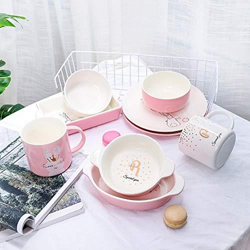 hangxuanzhuanmai Le stoviglie Pezzi di Ceramica con la Ciotola di Riso Giapponese Lunghe Orecchie Bistecca PERSONALITA \'la Colazione Occidentale per la Coppa, Rosa, 9