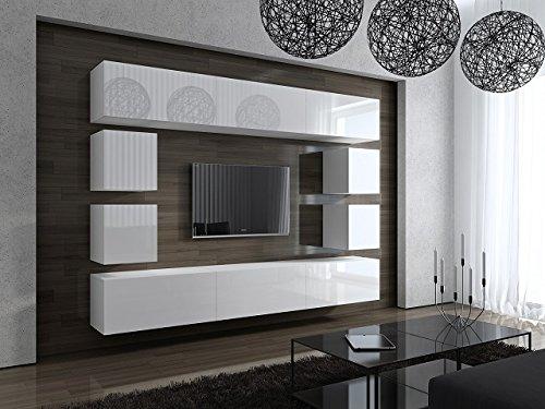 HomeDirectLTD Future 17 Moderne Wohnwand, Exklusive Mediamöbel, TV-Schrank, Garnitur, Große Farbauswahl (Schwarz MAT Base/Schwarz HG Front) (Front: Hochglanz Weiß/Korpus: Matt Weiß)