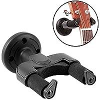 KATUMO® Supporto a parete per tutti i tipi di chitarre Basso Ukulele Mandolino Banjo con meccanismo di bloccaggio automatico perfetto (nero / 1 PCS)