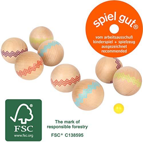 Small Foot 12029 Boule Active - Giocattolo da Giardino o Spiaggia, in Legno Certificato FSC 100%, per Bambini dai 3 Anni in su, Multicolore