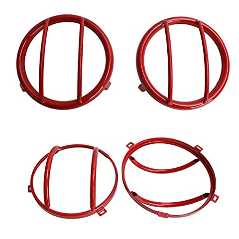 WANOOS Red Headlight Cover & Turn Signal Light Euro Guard Kits Set