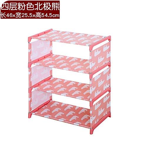 ShouYu Multi-layer einfache Schuhschrank Edelstahl Hausstaub, Regale E 057 Wohnheime, kleinen Schuh Racks, 4-stöckiges rosa Eisbären