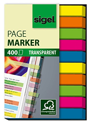 sigel-hn617-transparent-index-page-markers-film-micro-400-strips-green-blue-pink-yellow-orange