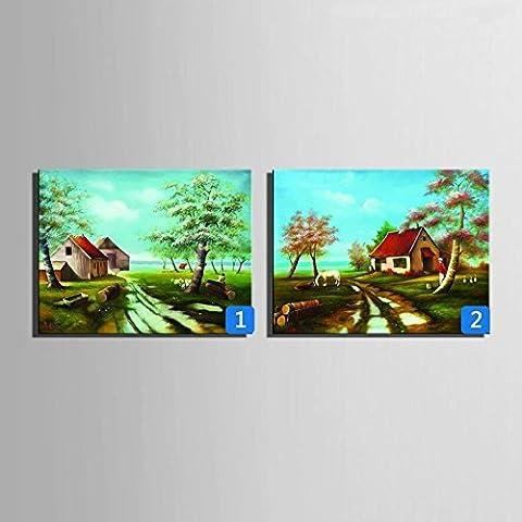 WHH Cottage costiere dipinti a mano pittura a olio, cornice decorativa , 2