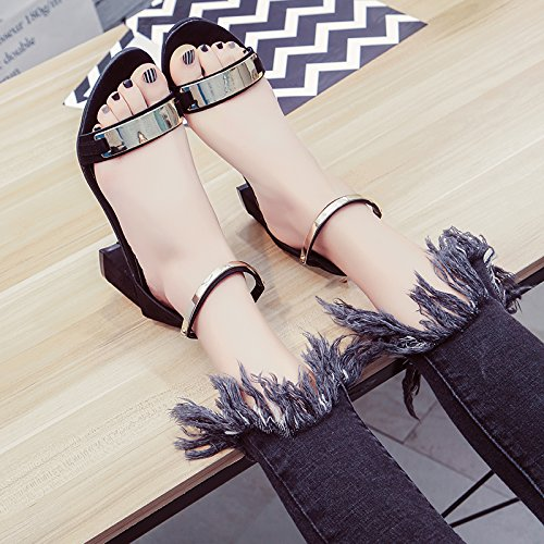 Lgk & fa estate sandali sandali da donna estate tacchi sandali estivi scarpe con tacco scarpa da donna Metallic black
