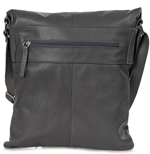Taschenloft Damen Ledertasche Crossbag Lederhandtasche aus weichem italienischen Leder Cognac Braun Dunkelgrau