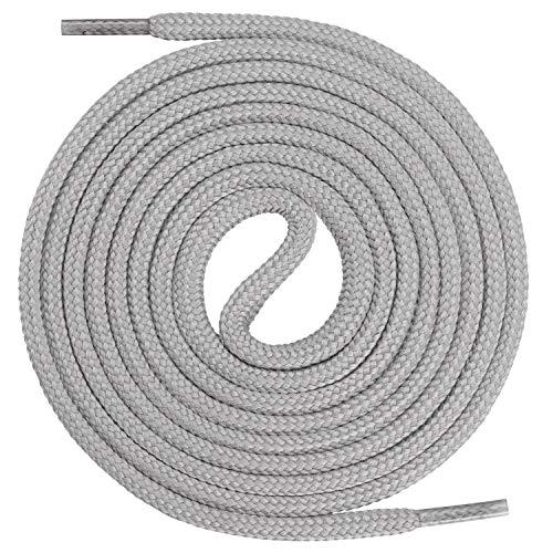 Mount Swiss runde Premium-Schnürsenkel für Arbeitsschuhe, Wanderschuhe und Trekkingschuhe - Polyester - ø 4,5 mm - sehr reißfest - Farbe Grau Länge 120cm -