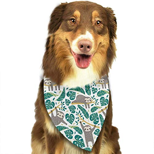best& Sloths and Tropical Palm Leaves Pattern Stylish Dog Bandanas Bibs Scarf Pet Dog Cat Dog Scarf Revival Bib