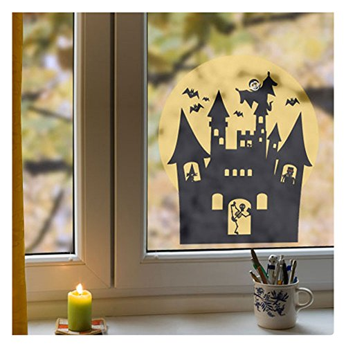 Fensterbild Halloween Spukschloss (35 cm x 40 cm), Aufkleber für Fenster oder Glas, in 4 verschiedenen Größen, für Wohnung oder Kinderzimmer, Fenstersticker wiederverwendbar! (Für Halloween Werden Prominente)