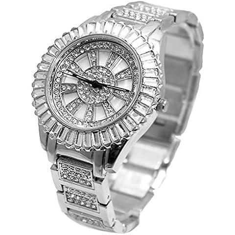ukfw855b nuove donne di cristallo opaco argento quadrante rettangolare cornice pietra bracciale orologio
