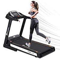 PowerMax Fitness Unisex Adult TDM-111 (4 Hp Peak) Motorized Treadmill With 5inch Lcd Display, Usb & Multimedia For Home Gym - Black/White, General-Foldable