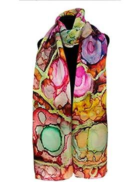 Silk Fedora Fular de Seda 175x50cm. Estampado abstracto de burbujas multicolor
