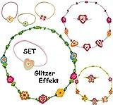 alles-meine.de GmbH 6 TLG. Set _ 3 Ketten / Kinderkette & 3 Haargummi -  Glitzer - Bunte Blumen / Blüten & Schmetterlinge  - aus Holz - Schmuck / Perlenkette - Bunte Holzperlen..