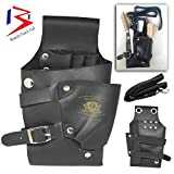 BeautyTrack Holster Bag with Belt for Hairdressers - Professional Beauticians - Barber Tool pouch for Keeping scissors, razors, hair pins, makeup brushes - Black Leather Bag