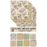 "Paper Pack (24sh 6""x6"") Romantic Vintage Floral Pattern FLONZ Vintage Paper for Scrapbooking and Craft"
