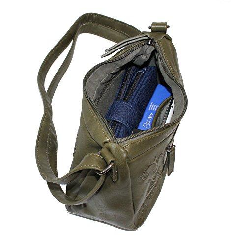 New Bags Handtasche mit Blütenstickerei Khaki
