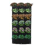 FullLove Pflanztasche Wand-Pflanzkissen hängend vertikal Begrünung für Balkon & Terrasse Wandbegrünung Pflanzbeuteln Grow Bag Schwarz aus Kunststoff-Filz für Kräuter und Blumen