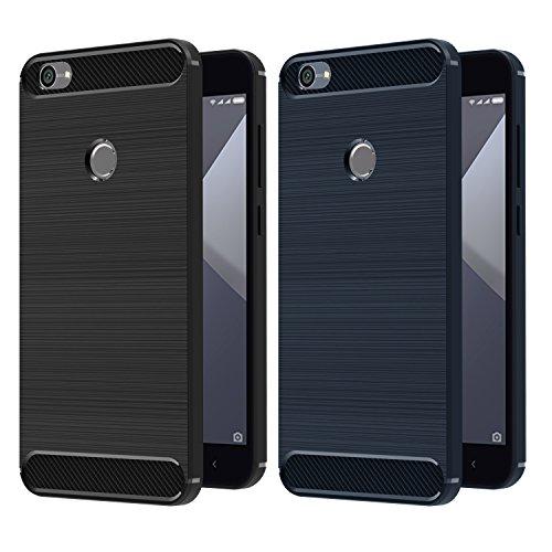 iVoler [2 Unidades] Funda para Xiaomi Redmi Note 5A / Xiaomi Redmi Note 5A Prime, Diseño de Fibra de Carbon Ultra Fina TPU Silicona Carcasa Fundas Protectora con Shock- Absorción (Negro+Azul)
