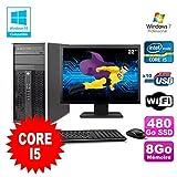 Lot PC Tour HP 8200 Core I5 3.1Ghz 8Go 480Go SSD Graveur WIFI W7 + Ecran 22