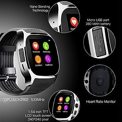 GEZICHTA Bluetooth Smart Watch Men Women Heart Rate Blood Pressure Monitoring Fitness Tracker Smartwatch With Camera PK Sport Pedometer Wrist Watch by GEZICHTA