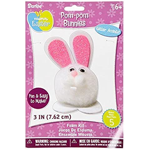 Foamies Easter Crafts for Kids - White Pom Pom Easter Bunny Craft Kit (Pack of 3) by Darice