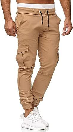 VANVENE Men's Casual Trousers Chino Jogger Pants Multi-Pocket Slim Fit Elasticated Waist Sweatpants Sports Bodybuilding Workout Running