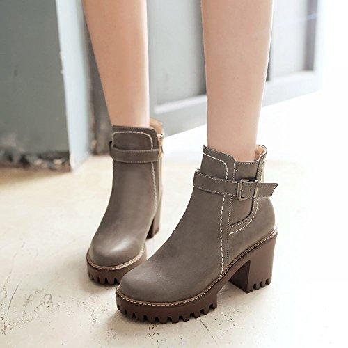 Mee Shoes Damen chunky heels Plateau runde Stiefel Grau