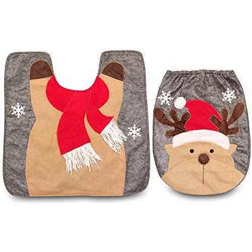 Wenquan,Elch-Toilettensitz-Abdeckungs-Wolldecke-Satz-Weihnachtsdekoration für Haupthotel(Color:BRAUN) - Elch Wc