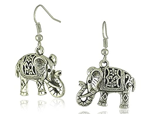 SaySureFR - Unique Tibetan Silver Hollow Carved Elephant Drop Dangle Earrings