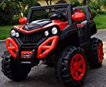 GetBest A 6500 Kids Ride on Jeep with 12V Rechargeable Battery, Music, Lights and Remote Control, Red