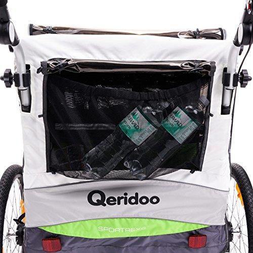 Qeridoo Sportrex 2 Deluxe (inkl. Sitzpolster) Kinder-Fahrradanhänger für 2 Kinder (mit einstellbarer Federung) – grün - 5