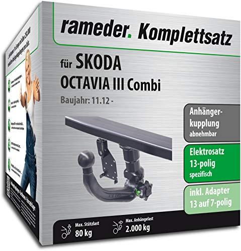 RAMEDER Komplettsatz, Anhängerkupplung abnehmbar + 13pol Elektrik für SKODA OCTAVIA III Combi (137419-11196-1)