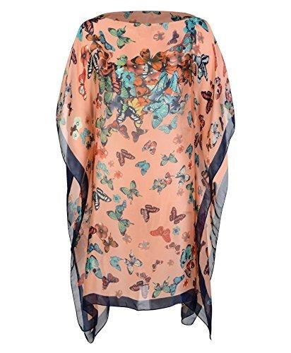 Damen Schmetterling Sommer Poncho Damen Seidenmischung Strandbedeckung Sarong Freie Größe Pfirsich