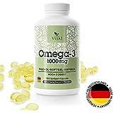 Omega-3 VITA 1 - 365gélules • L'huile de poisson avec de la Vitamine E • Dosage haut avec 1000 mg par gélules • 365 gélules - suffit á l'alimentation pour 1 ans • Produit naturel et sans additifs • Fabriqué en Allemagne