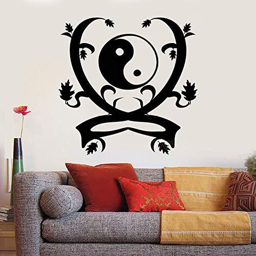 guijiumai Yin Yang Ornament Wand Dekor Abziehbilder Wohnzimmer Dekoration Zen Asia Art Aufkleber Wandbild Buddha Muster Abziehbild Schlafzimmer rot 56X59 cm